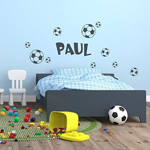 malango® Wandtattoo Wunschname mit Fussbälle Fußball Sport Ball Bälle Wanddekoration Freizeit Hobby Kinderzimmer Name Fussballfan Kinderwelt Dekoration Design siehe Produktbeschreibung schwarz
