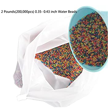 Huge 2 Pounds 200,000pcs Pack of Water Gel Beads Rainbow Mix Gel Water Gun Sensory Toy and Decorations