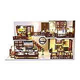 Luccase DIY Holzhaus Kit 3D Hölzernes Puppenhaus Spielzeug Modell Alte Stadt DIY Miniatur Led...