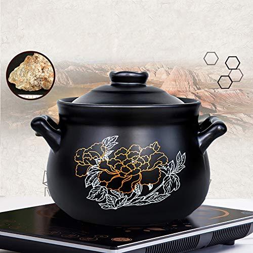 Xnxn Pot Rond en faïence, cocotte en céramique à Motif de Fleurs Pot en Argile Pot à Soupe avec Couvercle Casserole résistant à la Chaleur pour Une Cuisson Lente Noir 4,5L