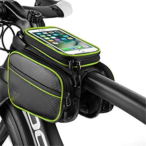 YYDM Bolso De Bicicleta, Bolsa De Teléfono Móvil A Prueba De Agua, Pantalla Táctil TPU Y Diseño Reflectante, Fácil De Instalar, Adecuado para Pantalla De 6.0-6.2 Pulgadas,Verde,6.2 Inches