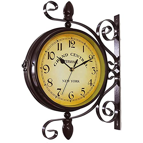 Litty Outdoor Garden Wall Clock, 15 Inch Classical 360°Rotation Double Sided Clock Train Station Clock with Station Bracket Waterproof Outdoor Clock Garden Clock Indoor Outdoor Decoration