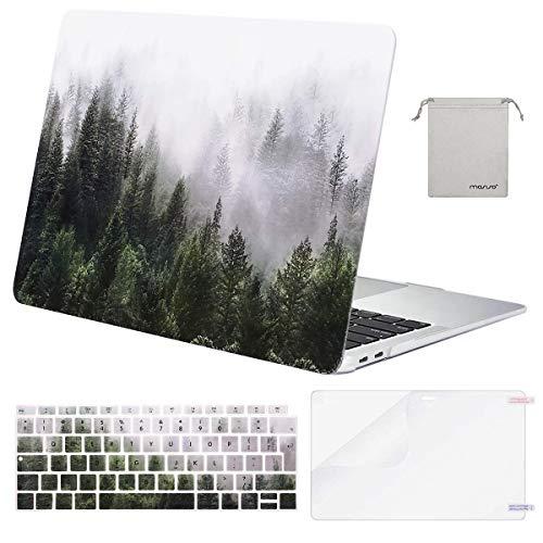 MOSISO Hülle Kompatibel mit MacBook Air 13 2020 2019 2018 Freisetzung A2179 A1932 Retina, Plastik Hülle & Tastaturschutz & Displayschutz & Aufbewahrungstasche Kompatibel mit Mac Air 13, Grün Wald
