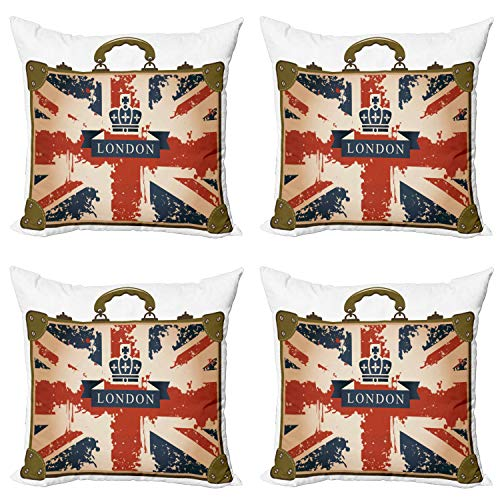ABAKUHAUS Union Jack Throw Pillow Cushion Case Pack of 4, Vintage Suitcase, Modern Accent Double-sided Digital Printing, 50 cm x 50 cm, Dark Blue Red Brown