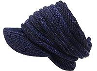 (エクサス)EXAS ボーダー編みニットサンバイザー(ツバ付きニット帽 ニットワッチ) ブラックネイビー
