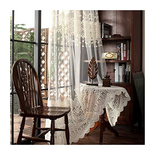 HHJJ Cortina de velo de encaje para cortina de cortina de cortina plisada para balcón, bordado, ventana, dormitorio, 1 pieza -6409W6K9F (tamaño: 400 x 270 cm)