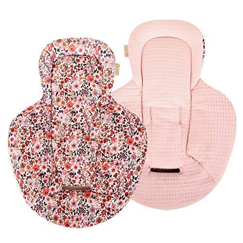 Ukje – Inserto para balancín de bebé Mamaroo rosa flores piqué y suave algodón Öko-Tex, 1 pieza, utilizable por ambos lados, lavable a máquina, suave y agradable