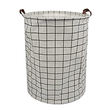 Laundry Storage Basket Bin for Bedroom Bathroom Kids Linen Cotton White and Plaid 15.7 x15.7 x19.7