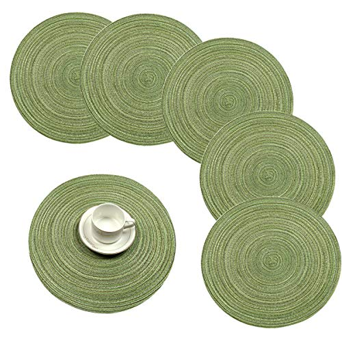 Pauwer Rund 6er Set Platzsets Abwaschbar Hitzebeständigen Platzdeckchen Gewebte rutschfest Abgrifffeste Tischsets 38cm,Grün