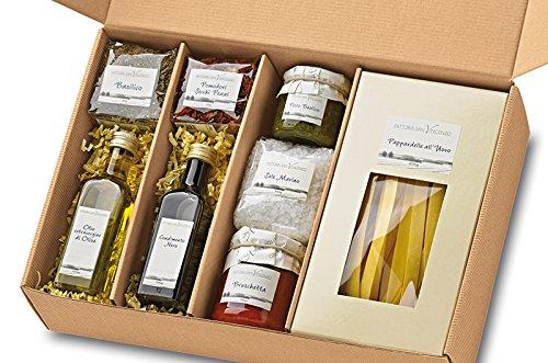 Geschenkkorb Cucina Italiana Geschenk-Set Italien Präsentkorb mit Pasta Pesto Olivenöl Bruschetta italienische Spezialitäten