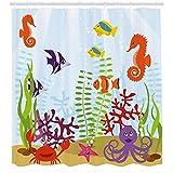 Fmiljiaty Cortina Ducha para Acuario amigable con Animales Marinos Grupo hábitat acuático Tropical Caballito mar Cangrejo Pulpo Tela poliéster baño -180 * 180CM