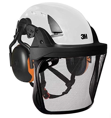 3M X5001VE Arborist Helm-Set mit weißem, belüftetem Helm mit X1-P5 26SNR Gehörschutz, Träger und Visier