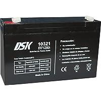 DSK 10321 - Batería Recargable de Plomo Ácido de 6V y 12Ah Ideal para Coches y Motos Eléctricos para Niños, Sistemas SAI/UPS, Sistemas de Seguridad y Alarmas