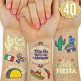 xo, Fetti Fiesta Party Supplies Metallic Tattoos - 40 styles   Cinco De Mayo Decorations, Final Fiesta Bachelorette + Mexican Decor