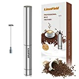 LinsnField Milk Frother, Handheld Battery Operated Foam Maker, Electric Durable Drink Mixer With 2 Whisks, 1 Storage Tube