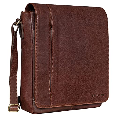 STILORD \'Paul\' Umhängetasche Herren Leder Hochformat Messenger Bag im Vintage Design Ledertasche für 13,3 Zoll MacBook iPad DIN A4 Herrentasche Echtleder, Farbe:maraska - Dunkelbraun
