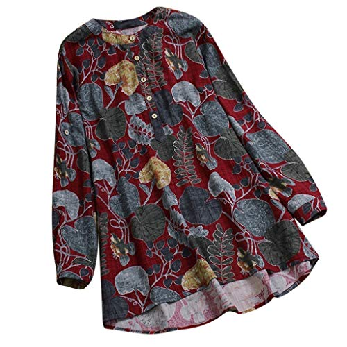 VEMOW Sommer Herbst Elegante Damen Plus Größe Dot Print Lose Baumwolle Casual Täglichen Party Strandurlaub Kurzarm Shirt Vintage Bluse Pulli(Y7-Rot, 44 DE / 2XL CN)