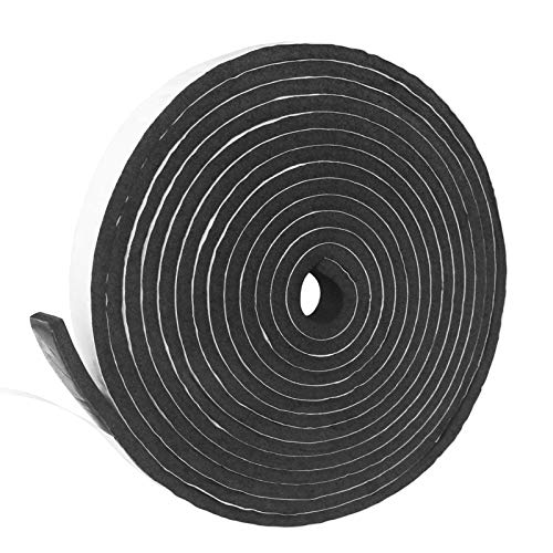 Weather Stripping Door Seal Strip Flame Retardant Slow Rebound Foam Insulation Tape Self Adhesive for Doors and Windows (W:1/2 in x T:1/4 in x L:33 Ft)