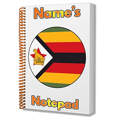 Gepersonaliseerd geschenk - Zimbabwe Vlag A5 Kladblok/notitieboekje - Cadeau - Verjaardag - Kerstmis - Kachelvuller - Geheime Kerstman - ADD elke naam