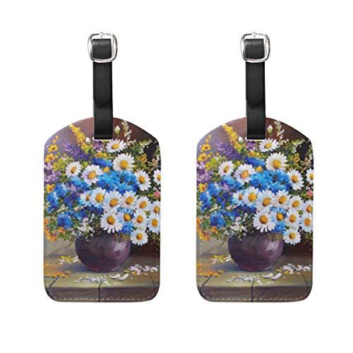 Chic Houses Etiquetas de equipaje de viaje florales de flores coloridas de la pintura al óleo de la maleta de la bolsa de etiquetas de equipaje de mano con correa negra 2031580