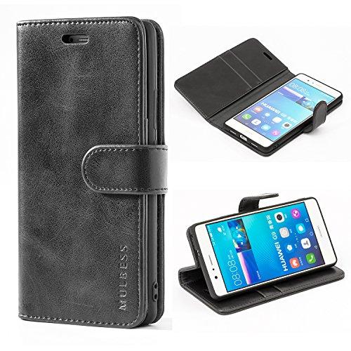 Mulbess Handyhülle für Huawei P9 Lite Hülle Leder, Huawei P9 Lite Handy Hülle, Vintage Flip Handytasche Schutzhülle für Huawei P9 Lite Case, Schwarz