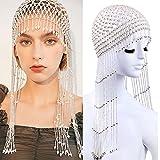 Exotic Cleopatra Belly Dance Beaded Cap Headpiece for Women Pearls Beaded Headwear Hair Accessory Hat