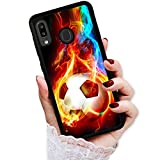 for Samsung Galaxy A20, A30, Art Design Soft Back Case Phone Cover, HOT12366 Soccer Flame Football 12366