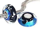 ANDANTE-Stones 925 Sterling Silber Murano Glas Bead Charm Nachthimmel Element Kugel für European Beads + Organzasäckchen