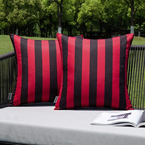 MIULEE Pack of 2 Outdoor Waterproof Cushion Covers Stripe Throw Pillow Cover Pillow Case Decorative for Garden Beach Park Bed Sofa Chair Bedroom Pillowcases 50x50 cm 20x20 inch Red and Black