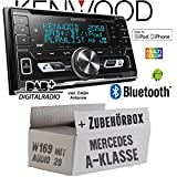 Autoradio Radio Kenwood DPX-7100DAB - 2DIN Bluetooth DAB+ Digitalradio USB CD MP3 Einbauzubehör - Einbause für Mercedes A-Klasse JUST SOUND best choice for caraudio