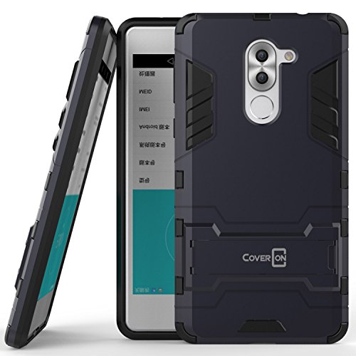 Huawei Honor 6X Case, Huawei Mate 9 Lite Case, CoverON [Shadow Armor Series] Hard Slim Hybrid Kickstand Phone Cover Case for Huawei Honor 6X or Mate 9 Lite- Navy Gray