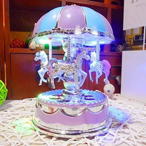 dongguanshuhui Carrusel Caja de música LED Luminosa Luz LED 3 caballos cuerda giratoria regalo musical melodía castillo Merry-Go-Round caja de música Navidad boda cumpleaños niños regalo (azul)