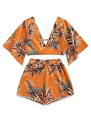 SweatyRocks Women's 2 Piece Boho Butterfly Sleeve Knot Front Crop Top with Shorts Set Orange #1 XL