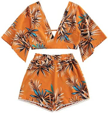 SweatyRocks Women s 2 Piece Boho Butterfly Sleeve Knot Front Crop Top with Shorts Set Orange product image