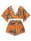 SweatyRocks Women's 2 Piece Boho Butterfly Sleeve Knot...