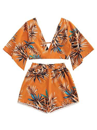 SweatyRocks Women's 2 Piece Boho Butterfly Sleeve Knot Front Crop Top with Shorts Set Orange #1 XL.