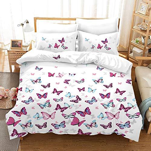 XUNGENG Art - Juego de funda nórdica y funda de almohada, diseño de mariposas, multicolor, ligero y cómodo, 100% microfibra (B,200 x 200 cm)