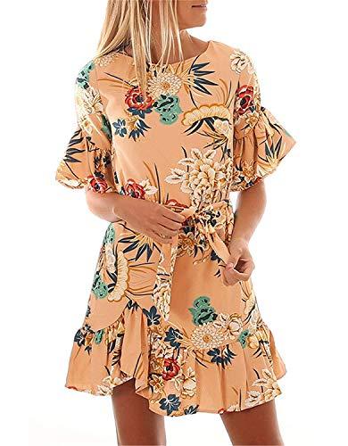 Adelina Dames zomer casual crewneck printing jurken vrije tijd ronde hals wikkeljurk casual sweatjurk modieuze elegante ronde hals bloemenprint blousjurken