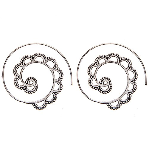 81stgeneration Frauen Messing Silber Ton Dotwork Spiral Stammes Gypsy Ethnische Ohrringe