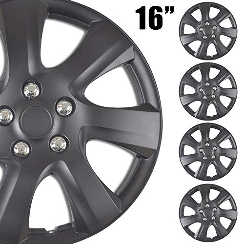 BDK 4-Pack Premium 16' Wheel Rim Cover Hubcaps OEM Style for Toyota Camry Style Replacement Snap On Car Truck SUV Hub Cap - 16 Inch Set, 7 Spoke Black (KT-1021-16-MBK_df)