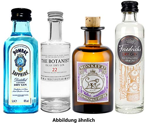 Gin mini 4er Set - Bombay Sapphire London Dry Gin 50ml (40% Vol) + Monkey 47 Schwarzwald Dry Gin 50ml (47% Vol) + The Botanist Islay Dry Gin 50ml (46% Vol) + Friedrichs Dry Gin 4cl (45% Vol)