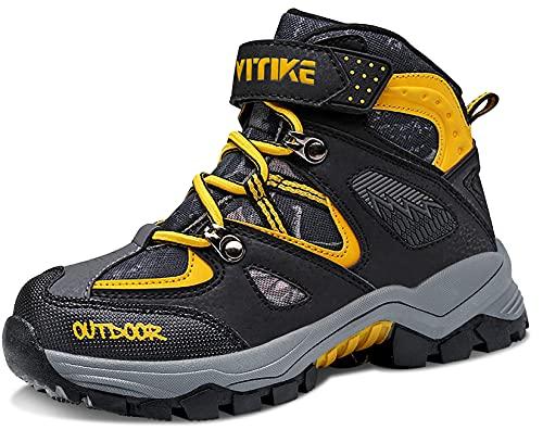 Stivali da Escursionismo Ragazzi Stivali da Neve Ragazze Scarpe da Escursionismo Ragazzo Bambini Scarpe da Trekking,1 Arancione,35 EU