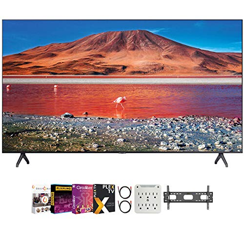 SAMSUNG UN43TU7000 43' 4K Ultra HD Smart LED TV (2020 Model) Bundle with Premiere Movies Streaming 2020 + 30-70 Inch TV Wall Mount + 6-Outlet Surge Adapter + 2X 6FT 4K HDMI 2.0 Cable