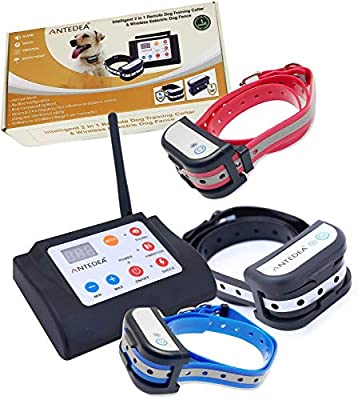 2 in 1 Electric Fence for 3 Dogs & Inbuilt Remote Dog Training Collar for All Type dog, No Need to Bury Wire, Rechargeable, Waterproof, 5 level Distance up to 300 Meter, 6 Level Vibration, Beep, Shock