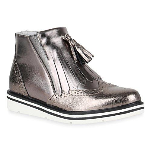 Damen Klassische Stiefeletten Quasten Metallic Boots Flache Schuhe 149184 Grau Metallic Quasten 36 Flandell