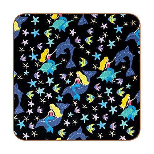 Posavasos de piel sintética con forma de estrella de mar de sirena para bebidas, paquete de 6 posavasos cuadrados para bebidas para el hogar o el bar, regalo de inauguración de la casa