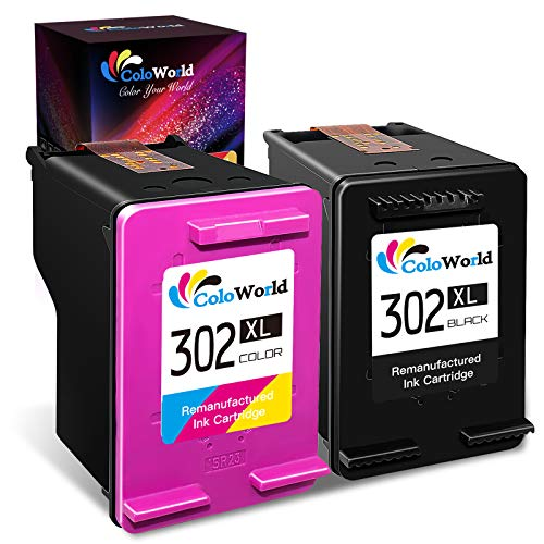 ColoWorld Remanufacturado 302 302XL Remanufacturado Cartuchos de Tinta 302 XL Negro y Tricolor Multipack Compatible con HP OfficeJet 3830 4650 5220 5230 DeskJet 1110 2130 3630 3639 Envy 4520 Impresora