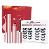 3D Magnetic Eyelashes with Eyeliner Kit - Liaboe No Glue Magnetic Fake Lashes, Reusable False Eyelashes with Tweezers, Magnetic Eyelashes with Lashliner (10-Pairs)