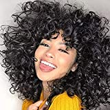 Short Curly Wigs for Black Women Andromeda Soft Curly Wig with Bangs Fluffy Curls Synthetic Hair Wigs Natural Black Loose Curly African American Costume Cosplay Cheap Half Wigs (Black)