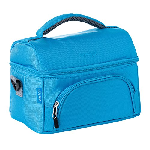 Bentgo Deluxe Lunch Bag (Blue) - Insulated Lunch Tote for Work and School with Top and Main Compartments, 2-Way Zipper, Adjustable Strap, and Front Pocket - Fits All Bentgo and Other Lunch Boxes